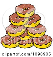 Clipart Pile Of Chocolate Frosted Donuts Royalty Free Vector Illustration by Johnny Sajem