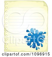 Clipart Blue Ink Splat On Aged Ruled Paper Royalty Free Vector Illustration