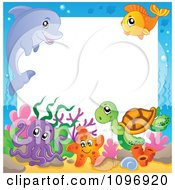 Clipart Frame Of Cute Sea Animals Royalty Free Vector Illustration