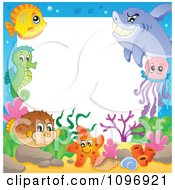 Clipart Frame Of Cute Sea Creatures Royalty Free Vector Illustration by visekart