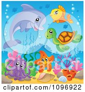 Clipart Dolphin And Cute Sea Creatures Over Corals Royalty Free Vector Illustration by visekart
