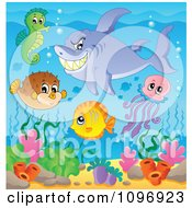Clipart Shark And Cute Sea Creatures Over Corals Royalty Free Vector Illustration by visekart