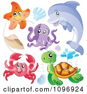 Clipart Cute Starfish Dolphin Octopus Crab Sea Turtle And Shells Royalty Free Vector Illustration by visekart