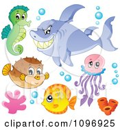 Clipart Green Seahorse Mean Shark Blowfish Jellyfish And Fish Royalty Free Vector Illustration