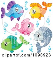 Clipart Happy Colorful Fish And Bubbles Royalty Free Vector Illustration