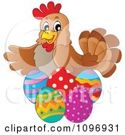 Clipart Friendly Brown Hen With Easter Eggs Royalty Free Vector Illustration