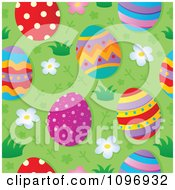 Clipart Seamless Background Of Colorful Easter Eggs On Grass Royalty Free Vector Illustration