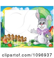 Clipart Happy Easter Rabbit Waving Around A Frame Royalty Free Vector Illustration
