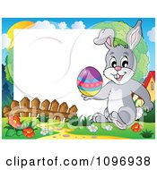 Clipart Happy Easter Rabbit Holding An Easter Egg Frame Royalty Free Vector Illustration
