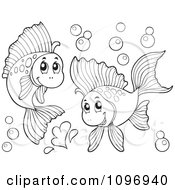 Clipart Two Outlined Happy Fish Playing Underwater Royalty Free Vector Illustration