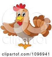 Clipart Friendly Brown Hen Presenting Royalty Free Vector Illustration by visekart