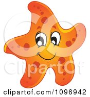 Clipart Happy Orange Starfish Royalty Free Vector Illustration