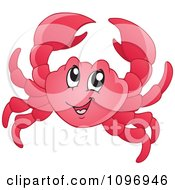 Clipart Happy Red Crab Royalty Free Vector Illustration