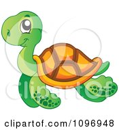 Clipart Happy Swimming Sea Turtle Royalty Free Vector Illustration