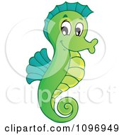 Clipart Happy Green Seahorse Royalty Free Vector Illustration