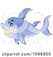 Clipart Sharp Toothed Shark Grinning Royalty Free Vector Illustration
