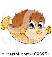 Clipart Happy Cute Puffer Fish Royalty Free Vector Illustration by visekart