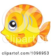 Clipart Happy Cute Orange Fish Royalty Free Vector Illustration