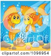 Clipart Two Happy Goldfish Playing Underwater Royalty Free Vector Illustration
