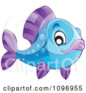 Clipart Happy Blue And Purple Fish Royalty Free Vector Illustration
