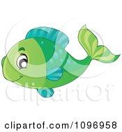 Clipart Happy Green Fish Royalty Free Vector Illustration