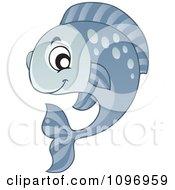 Clipart Happy Gray Fish Royalty Free Vector Illustration