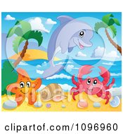 Clipart Happy Dolphin Starfish And Crab On A Tropical Beach Royalty Free Vector Illustration by visekart