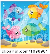Clipart Happy Colorful Fish Underwater Royalty Free Vector Illustration
