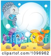 Clipart Three Happy Fish With A Bubble Frame Underwater Royalty Free Vector Illustration by visekart