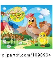 Clipart Rooster Showing A Chick A Meadow Royalty Free Vector Illustration by visekart