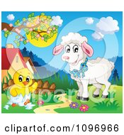 Clipart Happy Lamb Watching A Spring Chick Hatching In A Meadow Royalty Free Vector Illustration by visekart