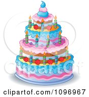 Clipart Four Tiered Colorful Birthday Cake With Candles And Strawberries Royalty Free Vector Illustration by visekart