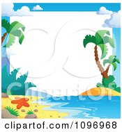 Clipart Tropical Beach Frame With Palm Trees Royalty Free Vector Illustration by visekart