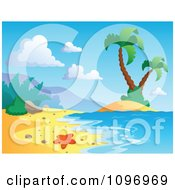 Clipart Tropical Sea Shore With A Starfish Surf And Palm Trees Royalty Free Vector Illustration