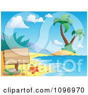 Clipart Blank Wood Sign On A Tropical Beach With Palm Trees Royalty Free Vector Illustration by visekart