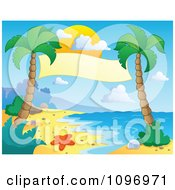 Clipart Blank Banner Suspended Between Palm Trees On A Tropical Beach Royalty Free Vector Illustration by visekart