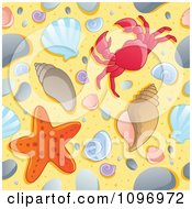 Clipart Seamless Beach Background Of Shells Starfish And A Crab On The Sand Royalty Free Vector Illustration by visekart