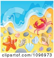 Clipart Beach Background With The Ocean Surf Shells Crab And Starfish Royalty Free Vector Illustration