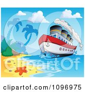Clipart Travel Cruiseship Arriving At A Tropical Beach Royalty Free Vector Illustration
