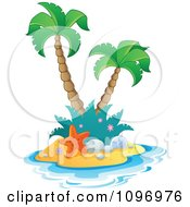 Clipart Tropical Island With Two Palm Trees And A Starfish Royalty Free Vector Illustration