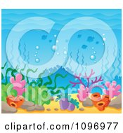 Clipart Under Sea Background With Corals And Seaweed Royalty Free Vector Illustration by visekart