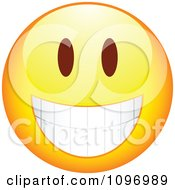 Clipart Yellow Cartoon Smiley Emoticon Happy Face 10 Royalty Free Vector Illustration