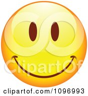 Clipart Yellow Cartoon Smiley Emoticon Happy Face 14 Royalty Free Vector Illustration