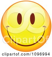 Clipart Yellow Cartoon Smiley Emoticon Happy Face 16 Royalty Free Vector Illustration