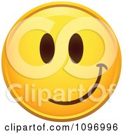 Clipart Yellow Cartoon Smiley Emoticon Happy Face 7 Royalty Free Vector Illustration