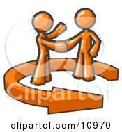 Poster, Art Print Of Orange Salesman Shaking Hands With A Client While Making A Deal