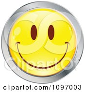 Clipart Yellow And Chrome Cartoon Smiley Emoticon Happy Face 1 Royalty Free Vector Illustration