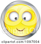 Clipart Yellow And Chrome Cartoon Smiley Emoticon Happy Face 2 Royalty Free Vector Illustration
