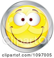 Clipart Yellow And Chrome Cartoon Smiley Emoticon Happy Face 3 Royalty Free Vector Illustration