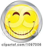 Clipart Yellow And Chrome Cartoon Smiley Emoticon Happy Face 4 Royalty Free Vector Illustration